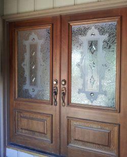 Wooden doors with glass