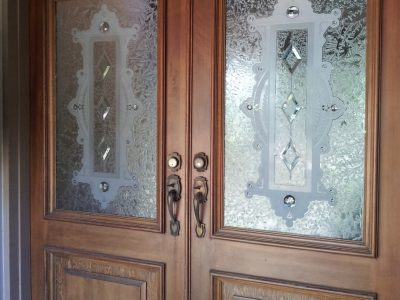 Wooden doors with glass