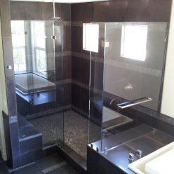 glass shower corner unit