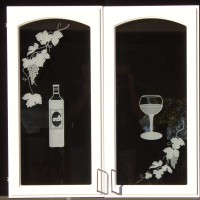 sandblasting on glass cabinets